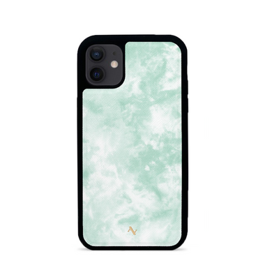 Tie Dye Green Fever - IPhone 12 Leather Case