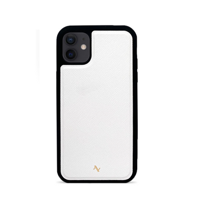 White Leather IPhone 12 Case - MAAD Collective - Saffiano IPhone Personalized Case