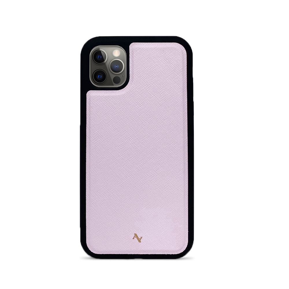 Light Pink Leather IPhone 12 Pro Case - MAAD Collective - Saffiano IPhone Personalized Case