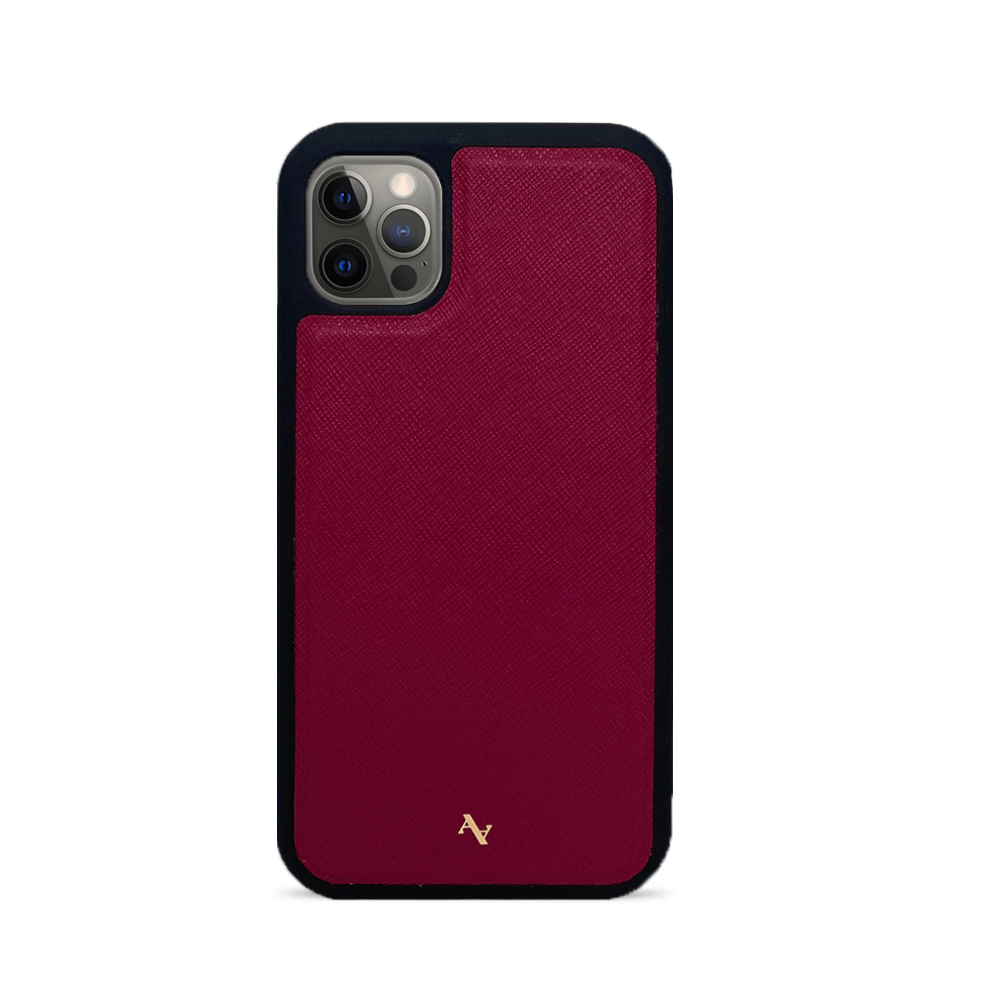 Red Leather IPhone 12 Pro Case - MAAD Collective - Saffiano IPhone Personalized Case