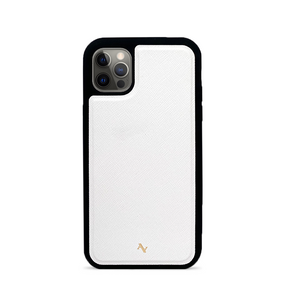 White Leather IPhone 12 Pro Case - MAAD Collective - Saffiano IPhone Personalized Case