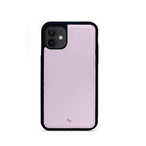 Light Pink Leather IPhone 12 Mini Case - MAAD Collective - Saffiano IPhone Personalized Case