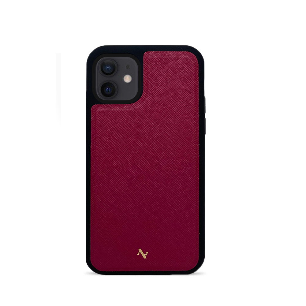 Red Leather IPhone 12 mini Case - MAAD Collective - Saffiano IPhone Custom Case