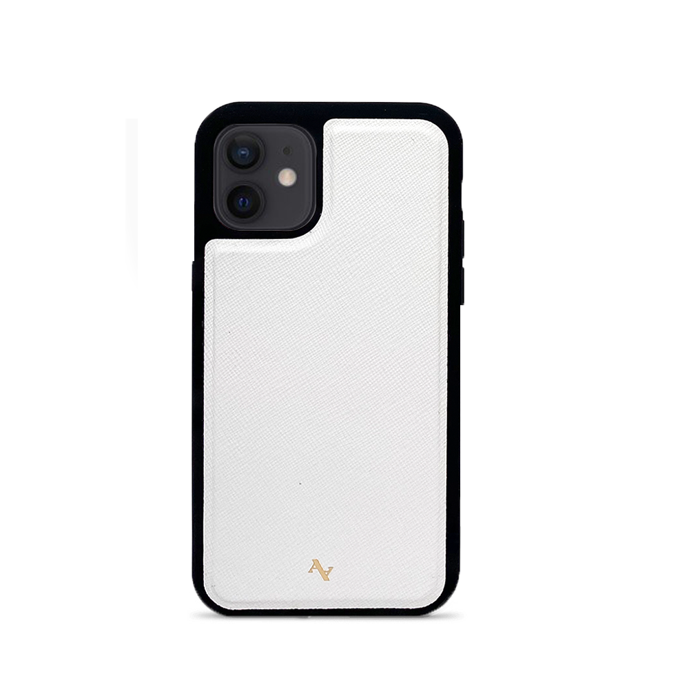 White Leather IPhone 12 Mini Case - MAAD Collective - Saffiano IPhone Case