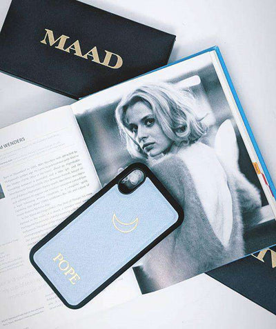 Baby Blue IPhone XS MAX Case - MAAD Collective - Saffiano IPhone Personalized Case