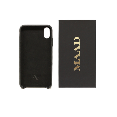 Pebble - Black IPhone XS MAX Case - MAAD Collective - Saffiano IPhone Personalized Case