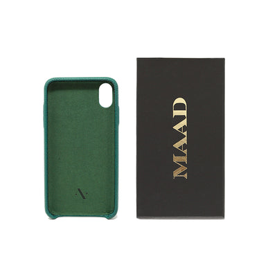 Pebble - Moss Green IPhone XS MAX Case - MAAD Collective - Saffiano IPhone Personalized Case