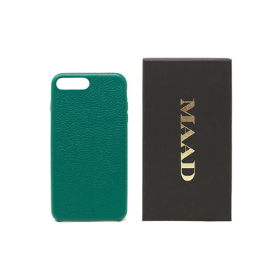 Pebble - Moss Green IPhone 7/8 Plus Case - MAAD Collective - Saffiano IPhone Personalized Case