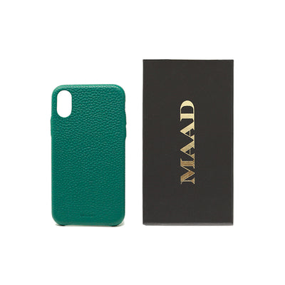Pebble - Moss Green IPhone XR Case - MAAD Collective - Saffiano IPhone Personalized Case