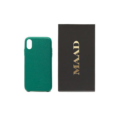 Pebble - Moss Green IPhone X/XS Case - MAAD Collective - Saffiano IPhone Personalized Case