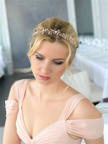 Swarovski Crystal Bridal Tiara Vine in Rose Gold - EVERY BRIDE BRIDAL