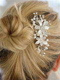Brushed Silver Floral Wedding Comb with Freshwater Pearls & Crystals - EVERY BRIDE BRIDAL