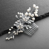 Freshwater Pearl Wedding Hair Comb with Pave Crystal Leaves - EVERY BRIDE BRIDAL