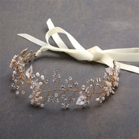 Bridal Headband with Hand Painted Gold and Silver Leaves - EVERY BRIDE BRIDAL
