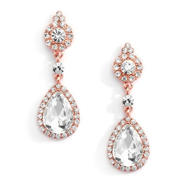 Rose Gold and Crystal Earrings with Teardrop Dangles - EVERY BRIDE BRIDAL