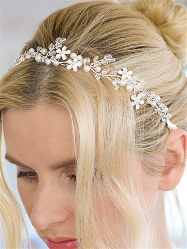 Bridal Headband with Dainty Floral Vines