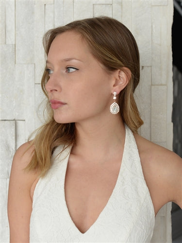 Rose Gold Teardrop Statement Earrings with Crystal Accents - EVERY BRIDE BRIDAL