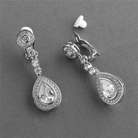 Silver Rhodium CZ Framed Pear Shape Drop Bridal Earrings with Clip Back - EVERY BRIDE BRIDAL