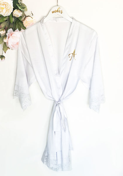 Monogram Satin Lace Robe -White - EVERY BRIDE BRIDAL