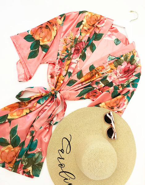Monogram Watercolor Floral Robes - EVERY BRIDE BRIDAL