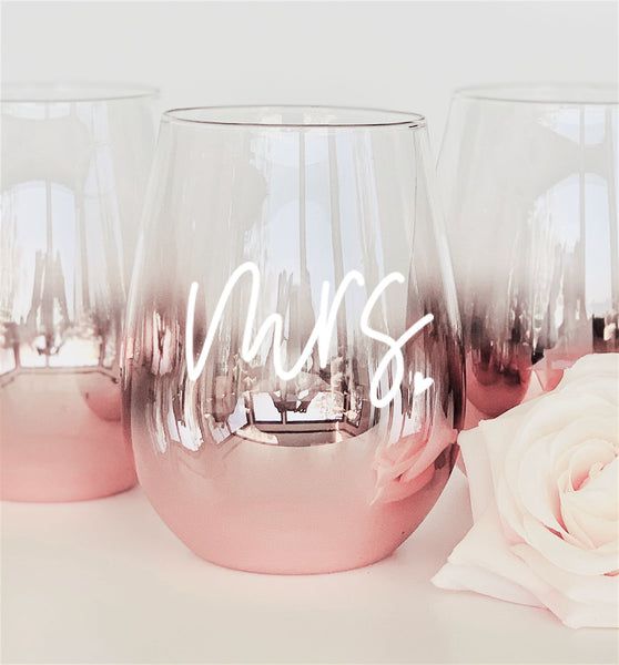 Mrs. Stemless Glass - Rose Gold