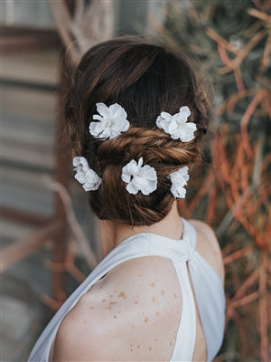 """KENDRA"" BRIDAL HAIR FLOWER SET OF 5 IN WHITE OR IVORY - EVERY BRIDE BRIDAL"