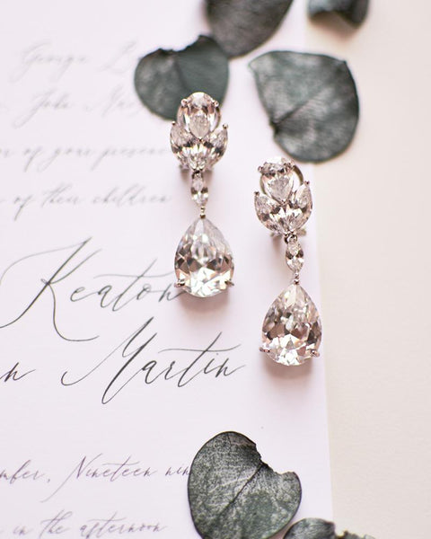 Vibrant Floral CZ Earrings - EVERY BRIDE BRIDAL