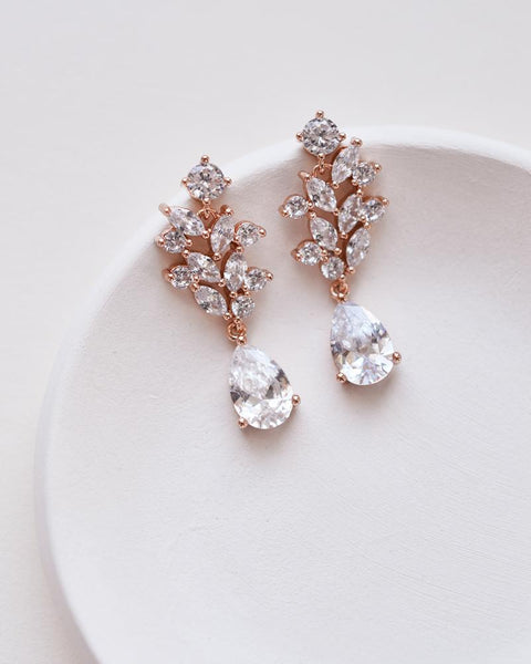 Anna Floral CZ Earrings - EVERY BRIDE BRIDAL