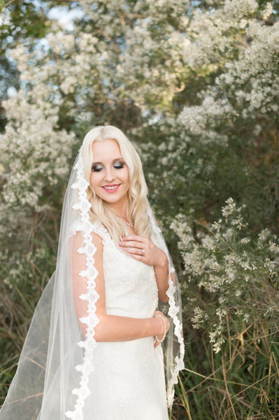 JESSICA - BEADED LACE MANTILLA VEIL - EVERY BRIDE BRIDAL
