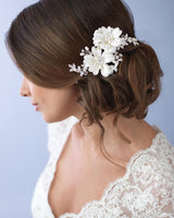 Double Ivory Floral Comb
