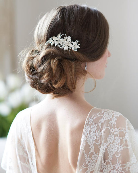 Petite Frosted Flower Clip