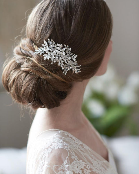Sadie Crystal & Leaf Hair Clip - EVERY BRIDE BRIDAL