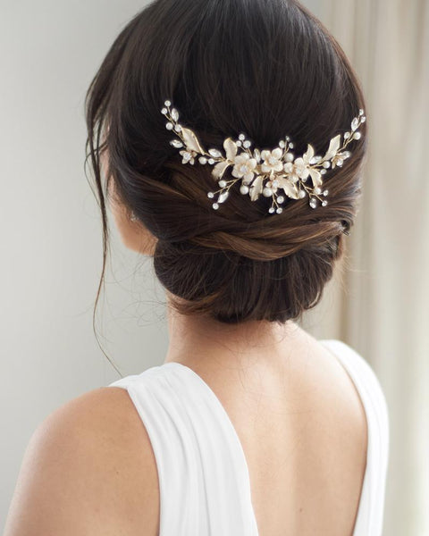 Petite Pearl & Floral Backpiece - EVERY BRIDE BRIDAL