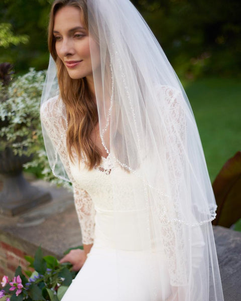 Mariah Pearl Beaded Edge Cathedral Veil with Blusher - EVERY BRIDE BRIDAL