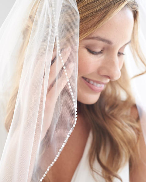 Simple Pearl Edge Wedding Veil - EVERY BRIDE BRIDAL
