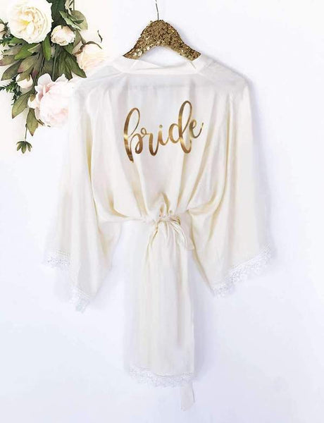 Bride Robe with Lace Trim - EVERY BRIDE BRIDAL