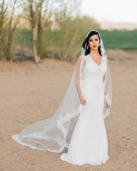 Addison - Sequined Lace Mantilla Veil - EVERY BRIDE BRIDAL