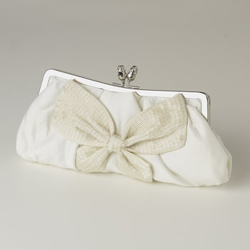 White Matte Satin Bridal Beaded Bow Tie Evening Bag - EVERY BRIDE BRIDAL