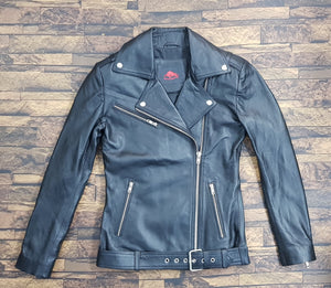 LEATHER KING Black Sheep Leather Biker Jacket With Embroidery Patch ( Model # LK0103 )
