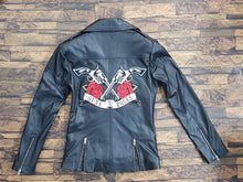 Load image into Gallery viewer, LEATHER KING Black Sheep Leather Biker Jacket With Embroidery Patch ( Model # LK0103 )
