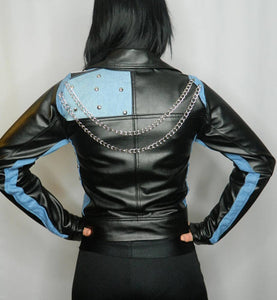 LEATHER KING Black Sheep Leather Biker Style Jacket with Baby Blue Contrast ( MODEL # LK0106 )