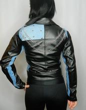 Load image into Gallery viewer, LEATHER KING Black Sheep Leather Biker Style Jacket with Baby Blue Contrast ( MODEL # LK0106 )