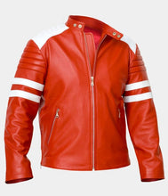 Load image into Gallery viewer, LEATHER KING Red Sheep Leather Jacket With White contrast ( Model # LK0011 )