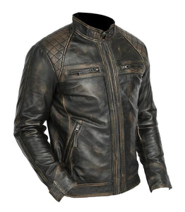 LEATHER KING Men's Vintage Biker Style Sheep Leather Jacket ( Model # LK0002 )