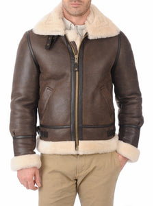 LEATHER KING Men Bomber Sheepskin Shearling  Leather Winter Jacket