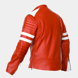 LEATHER KING Red Sheep Leather Jacket With White contrast ( Model # LK0011 )