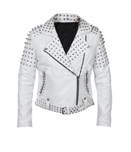 Load image into Gallery viewer, LEATHER KING Woman White Sheep Leather Studs Jacket ( Model # LK0101 )