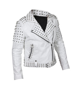 LEATHER KING Woman White Sheep Leather Studs Jacket ( Model # LK0101 )