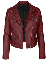Load image into Gallery viewer, LEATHER KING Maroon Sheep Leather Biker Style Jacket ( Model # LK0102 )