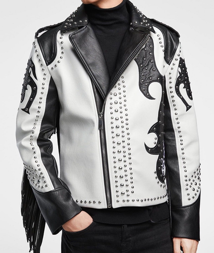 LEATHER KING Sheep Leather Black And White Studs Jacket ( Model # 0009 )